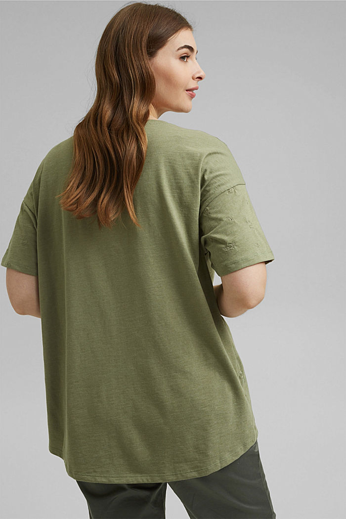 Recycled: CURVY T-shirt with embroidery, LIGHT KHAKI, detail image number 3