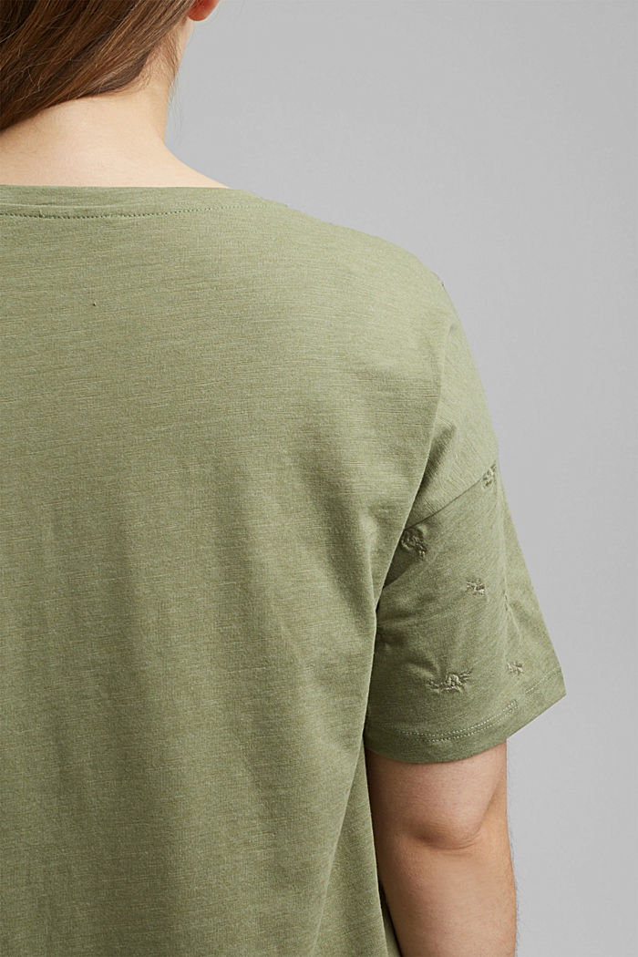 Recycled: CURVY T-shirt with embroidery, LIGHT KHAKI, detail image number 2