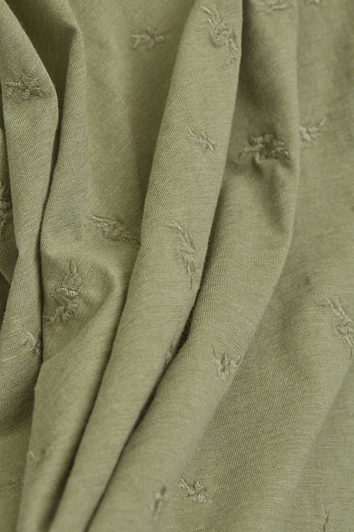 Recycled: CURVY T-shirt with embroidery, LIGHT KHAKI, detail image number 4