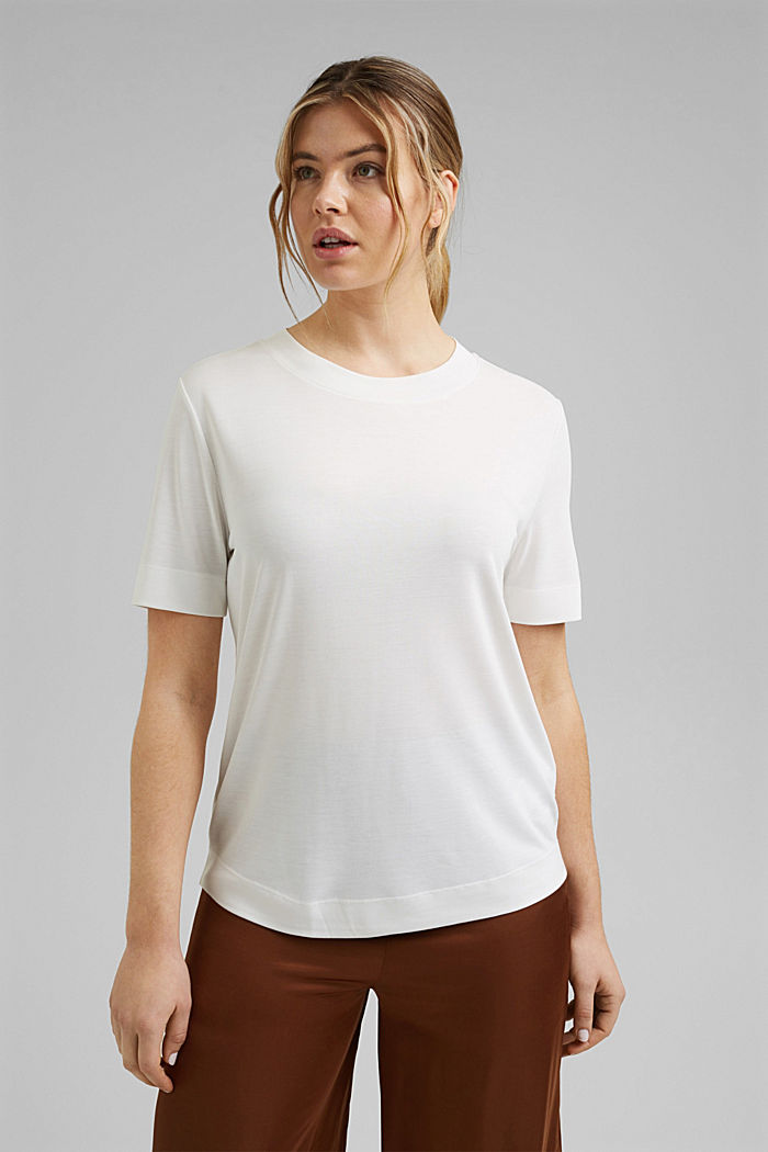 Flowing T-shirt with modal, OFF WHITE, detail image number 2