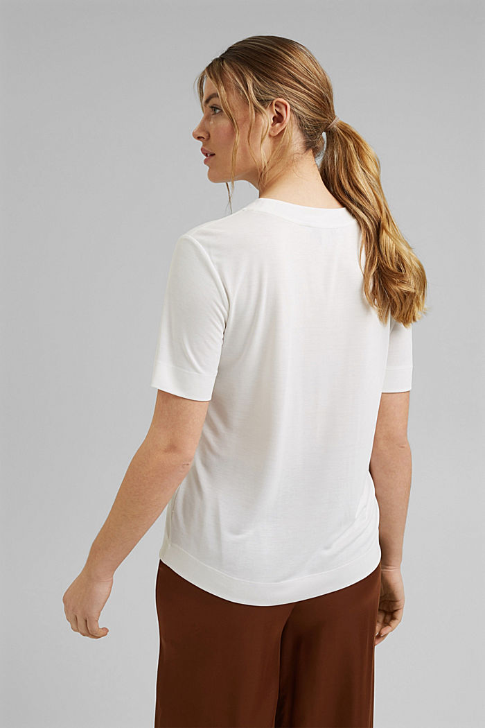 Flowing T-shirt with modal, OFF WHITE, detail image number 4