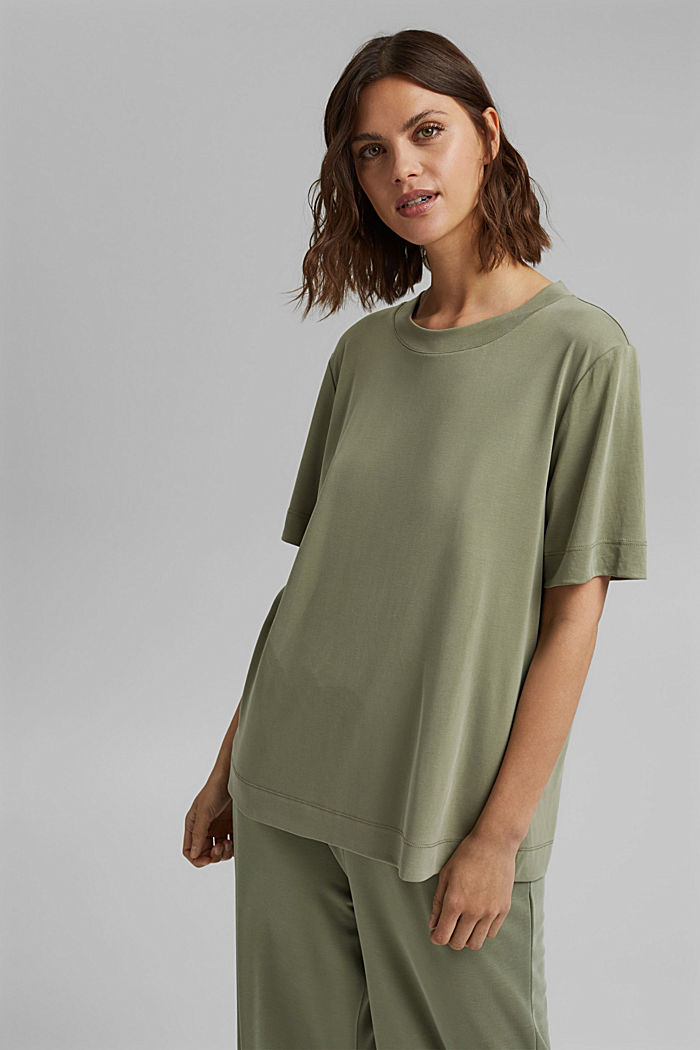 Fließendes T-Shirt mit Modal, LIGHT KHAKI, detail image number 0