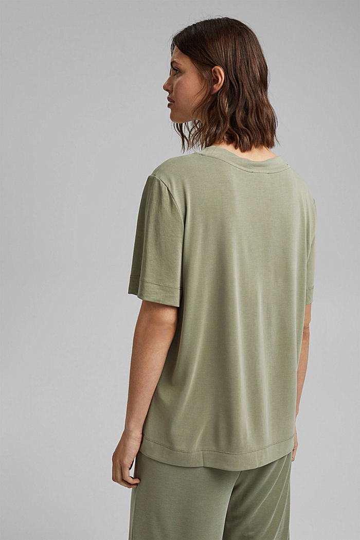 Fließendes T-Shirt mit Modal, LIGHT KHAKI, detail image number 3