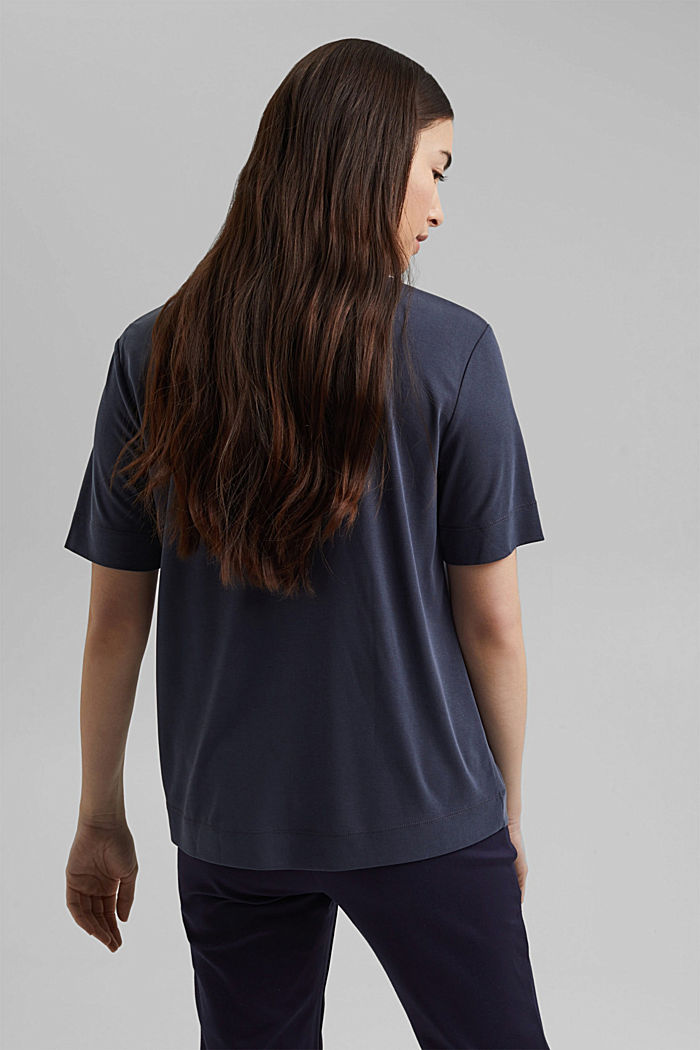 Flowing T-shirt with modal, NAVY, detail image number 3