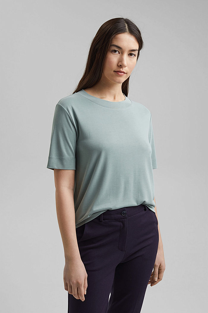 Flowing T-shirt with modal, TURQUOISE, detail image number 0