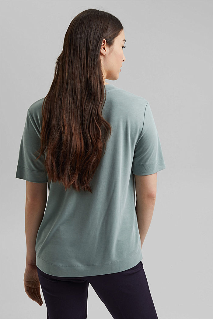 Flowing T-shirt with modal, TURQUOISE, detail image number 3