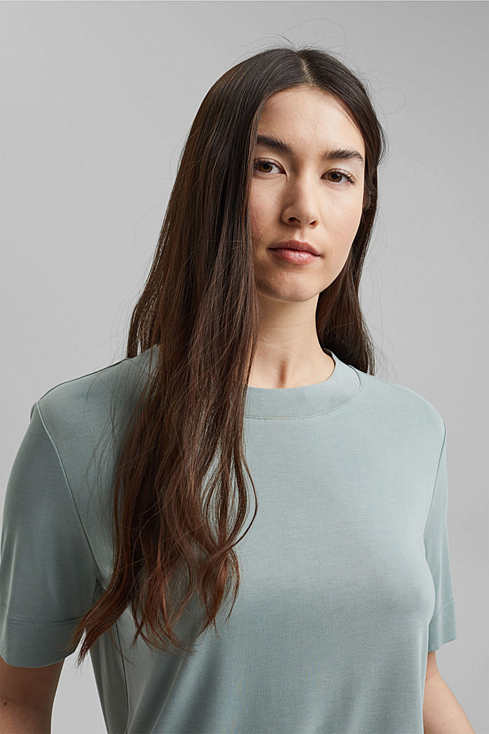 Flowing T-shirt with modal, TURQUOISE, detail image number 6