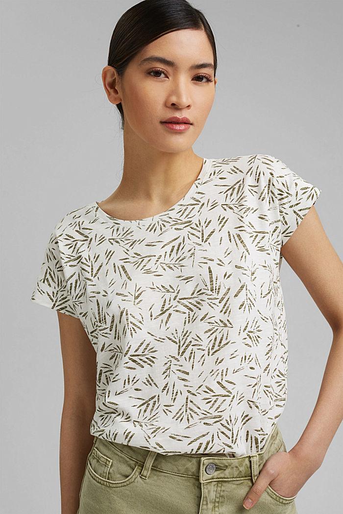 T-Shirt mit Print aus 100% Bio-Baumwolle, OFF WHITE, detail image number 0