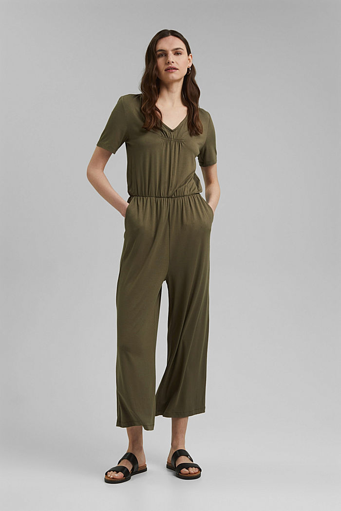 Jersey jumpsuit made of LENZING™ ECOVERO™, KHAKI GREEN, detail image number 0