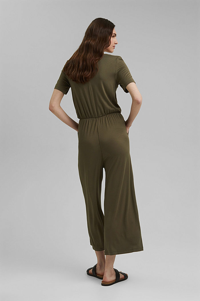 Jersey jumpsuit made of LENZING™ ECOVERO™, KHAKI GREEN, detail image number 2