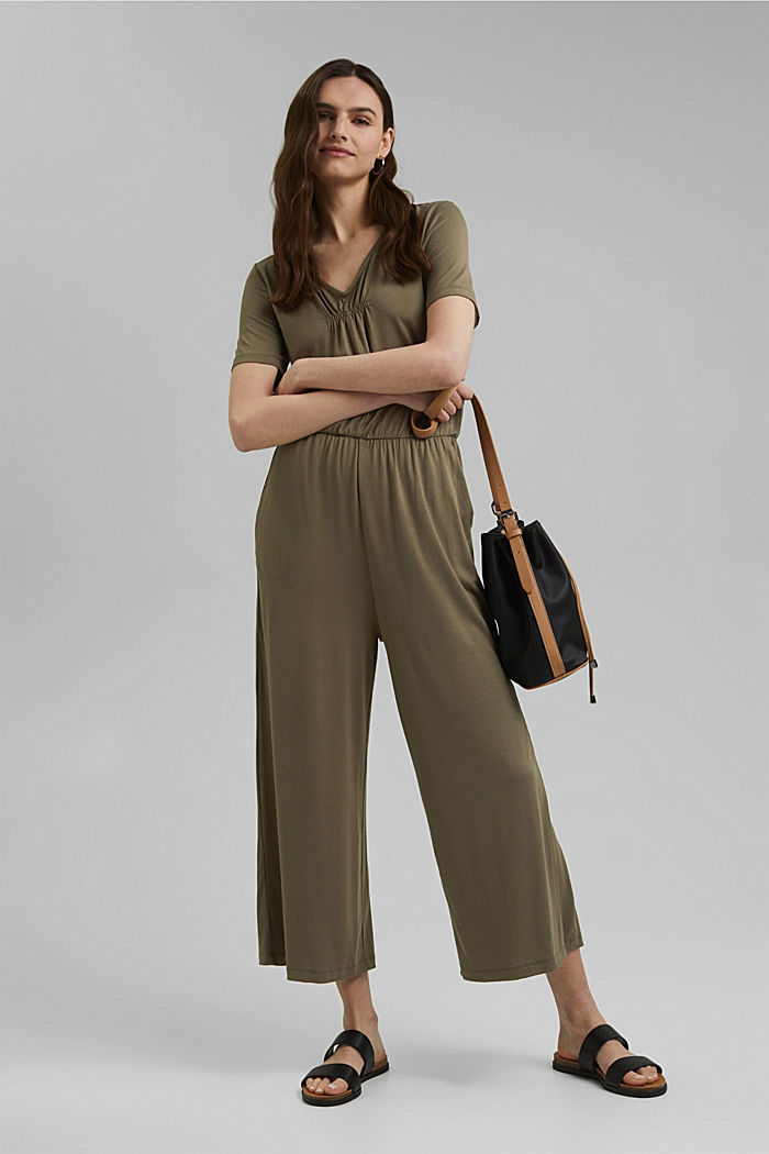 Jersey jumpsuit made of LENZING™ ECOVERO™, KHAKI GREEN, detail image number 1