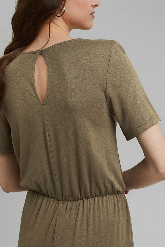 Jersey jumpsuit made of LENZING™ ECOVERO™, KHAKI GREEN, detail image number 3