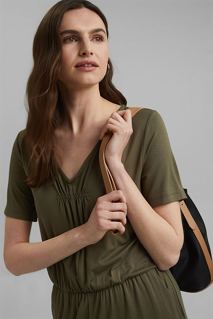 Jersey jumpsuit made of LENZING™ ECOVERO™, KHAKI GREEN, detail image number 5