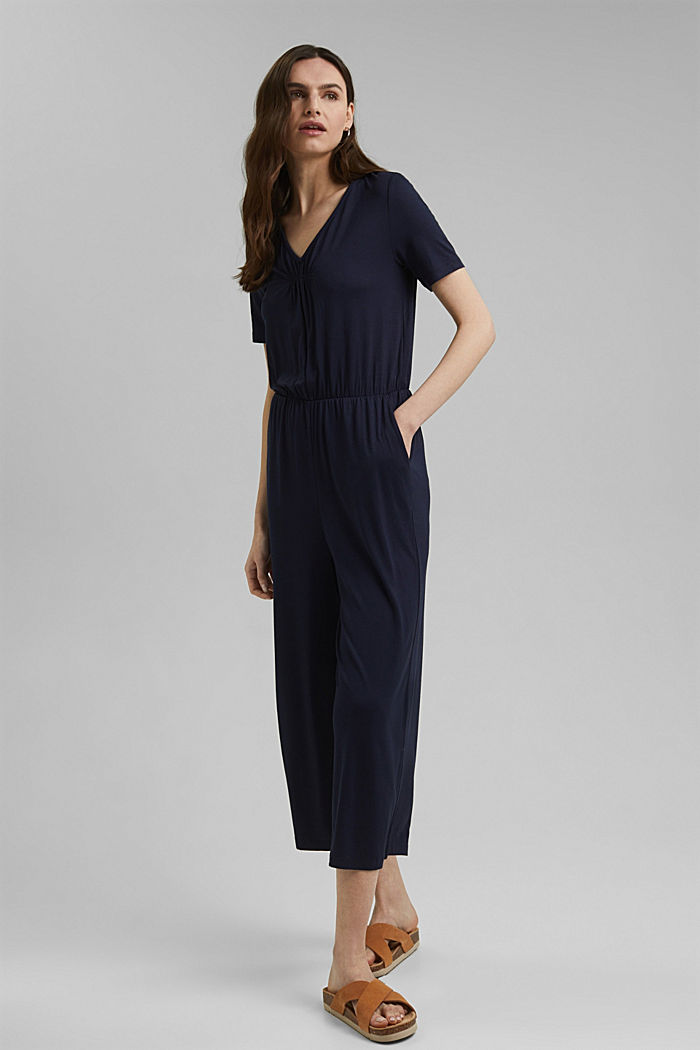 Jersey jumpsuit made of LENZING™ ECOVERO™, NAVY, detail image number 0