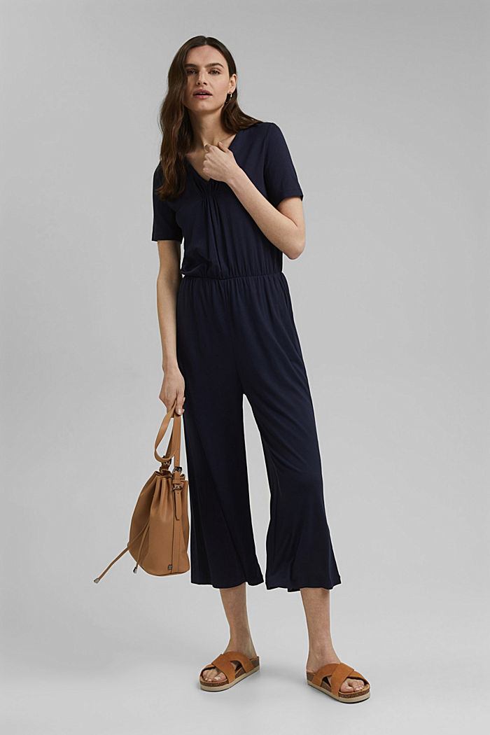 Jersey jumpsuit made of LENZING™ ECOVERO™, NAVY, detail image number 1