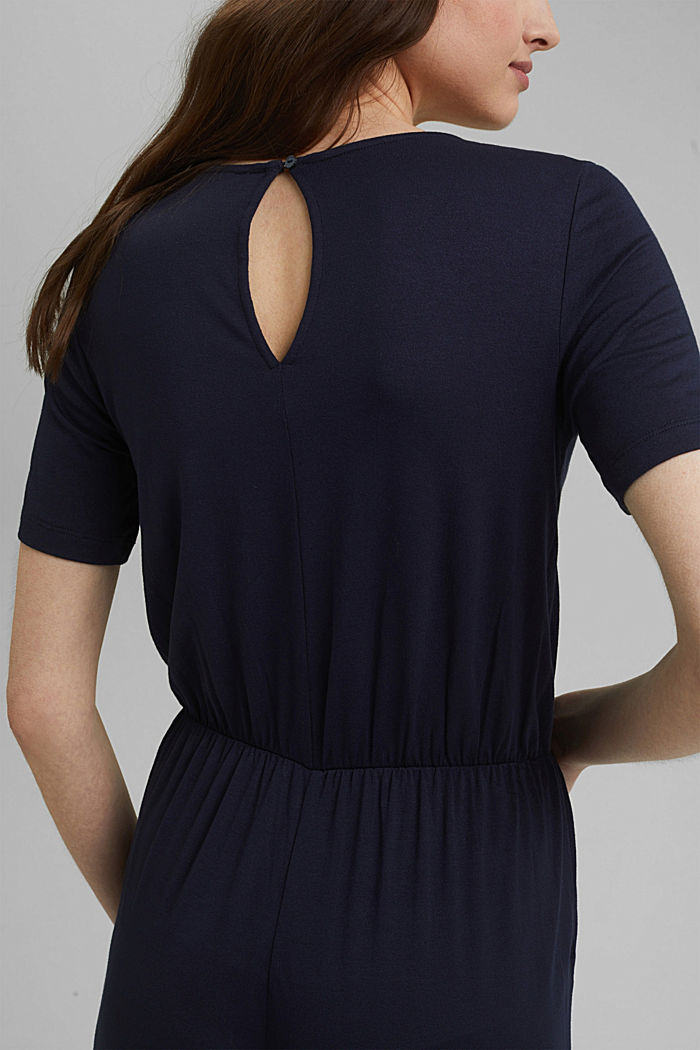 Jersey jumpsuit made of LENZING™ ECOVERO™, NAVY, detail image number 3