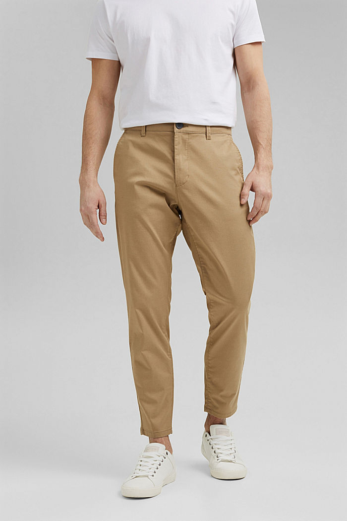 Stretch chinos with COOLMAX® and organic cotton, BEIGE, detail image number 0