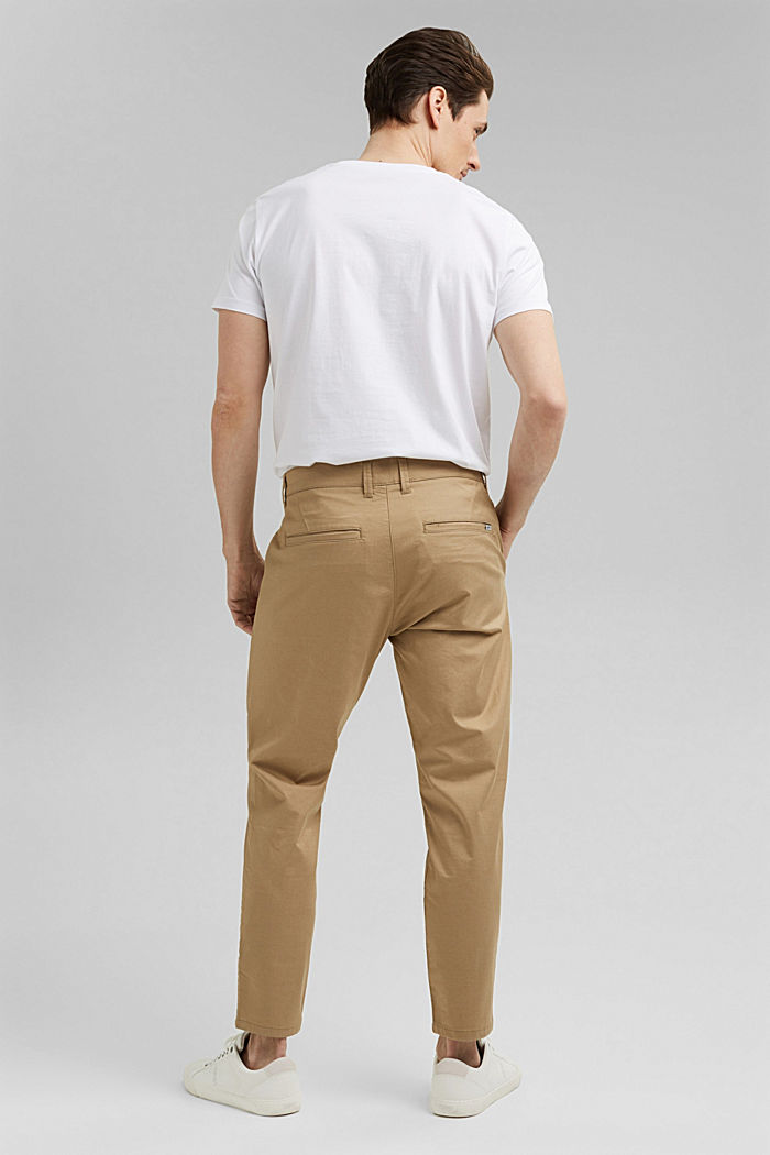 Stretch chinos with COOLMAX® and organic cotton, BEIGE, detail image number 3