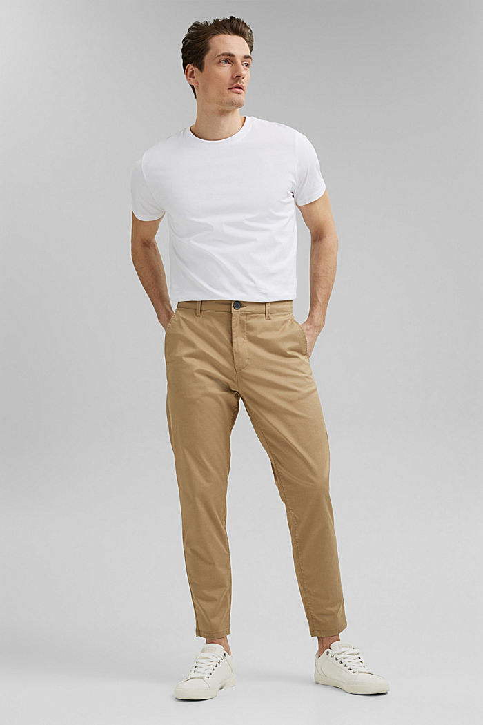 Stretch chinos with COOLMAX® and organic cotton, BEIGE, detail image number 5