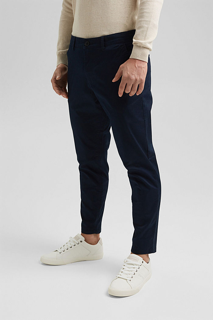Stretch chinos with COOLMAX® and organic cotton, DARK BLUE, detail image number 0