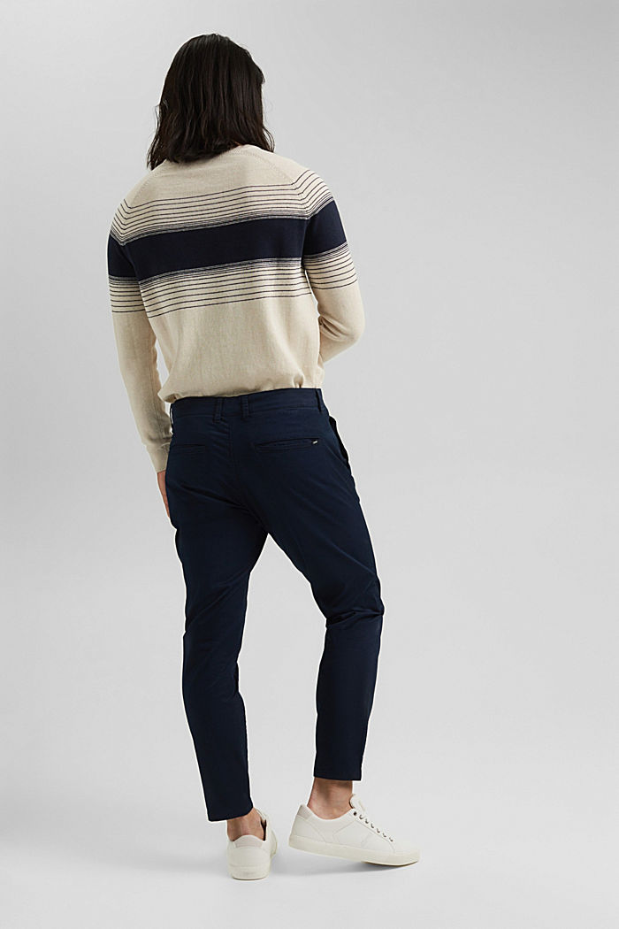 Stretch chinos with COOLMAX® and organic cotton, DARK BLUE, detail image number 3