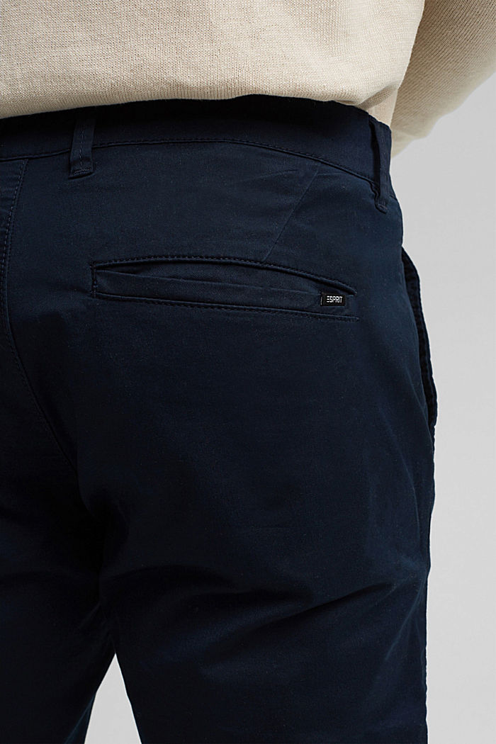 Stretch chinos with COOLMAX® and organic cotton, DARK BLUE, detail image number 5
