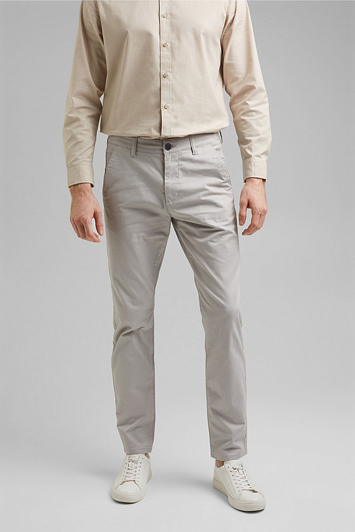 Stretch chinos in organic cotton, LIGHT GREY, detail image number 0