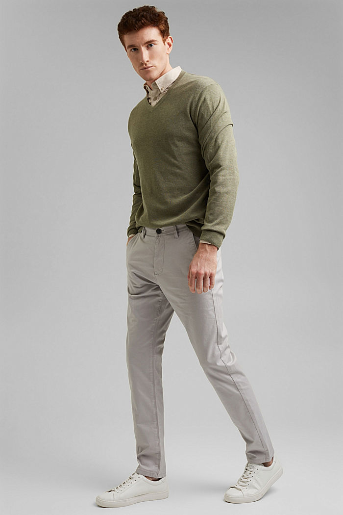 Stretch chinos in organic cotton, LIGHT GREY, detail image number 1