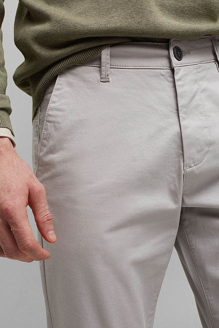 Stretch chinos in organic cotton, LIGHT GREY, detail image number 2