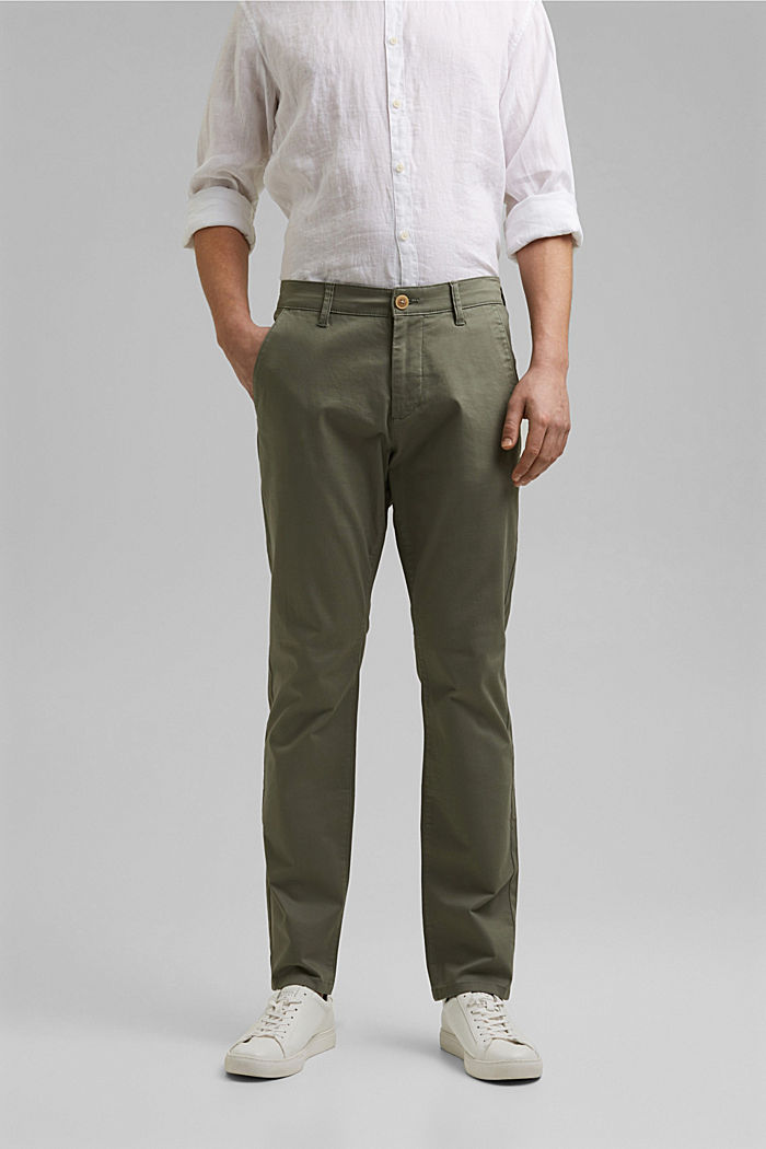 Stretch chinos in organic cotton, LIGHT KHAKI, detail image number 0