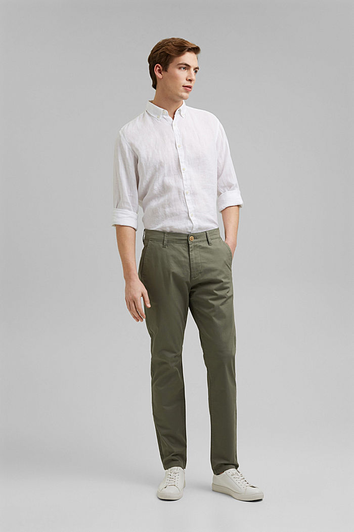 Stretch chinos in organic cotton, LIGHT KHAKI, detail image number 6