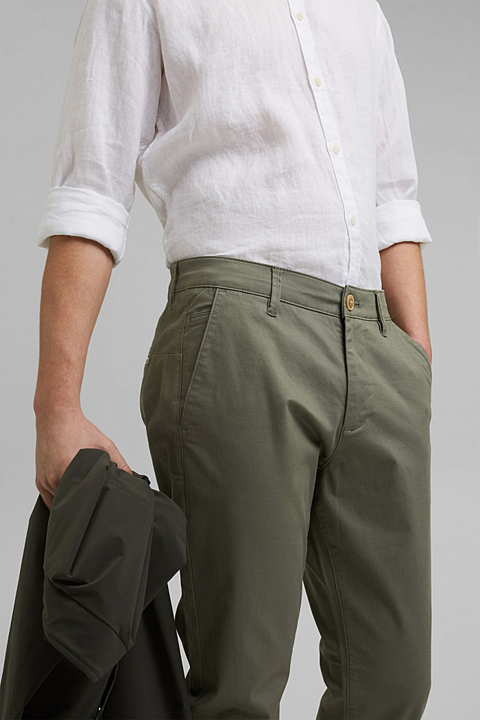Stretch chinos in organic cotton, LIGHT KHAKI, detail image number 2