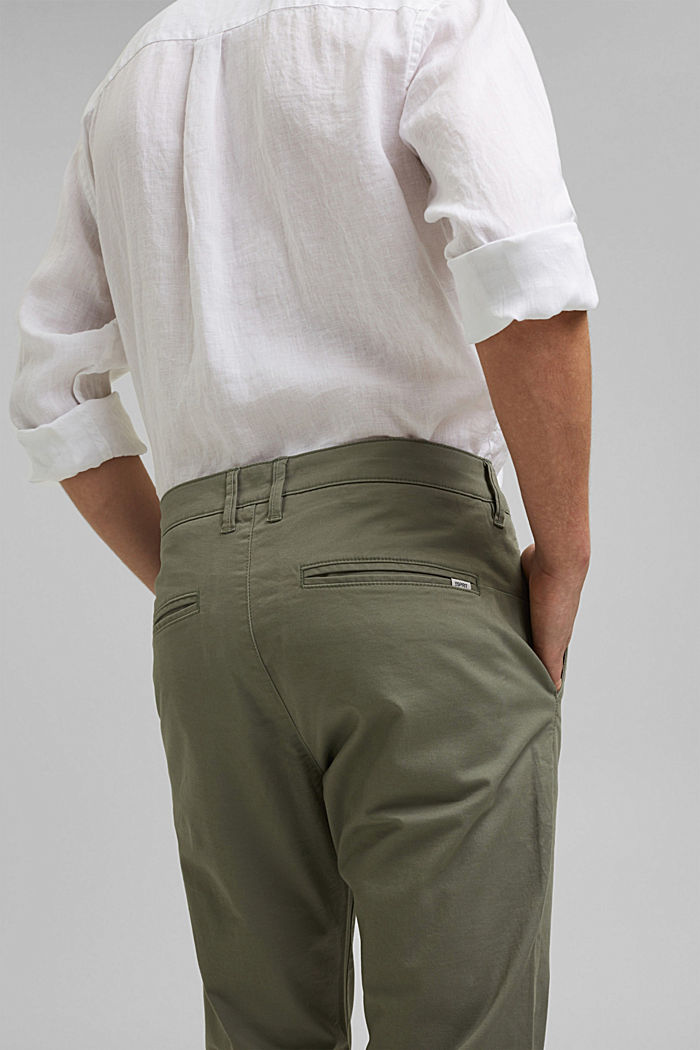 Stretch chinos in organic cotton, LIGHT KHAKI, detail image number 5