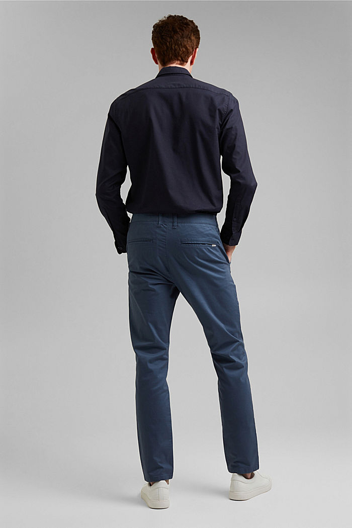Stretch chinos in organic cotton, GREY BLUE, detail image number 3