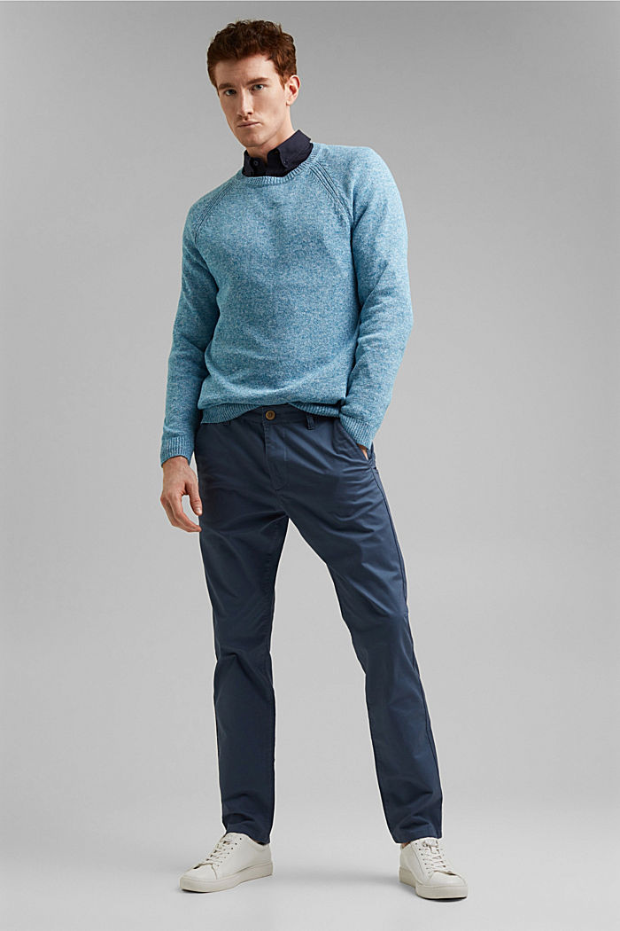 Stretch chinos in organic cotton, GREY BLUE, detail image number 1