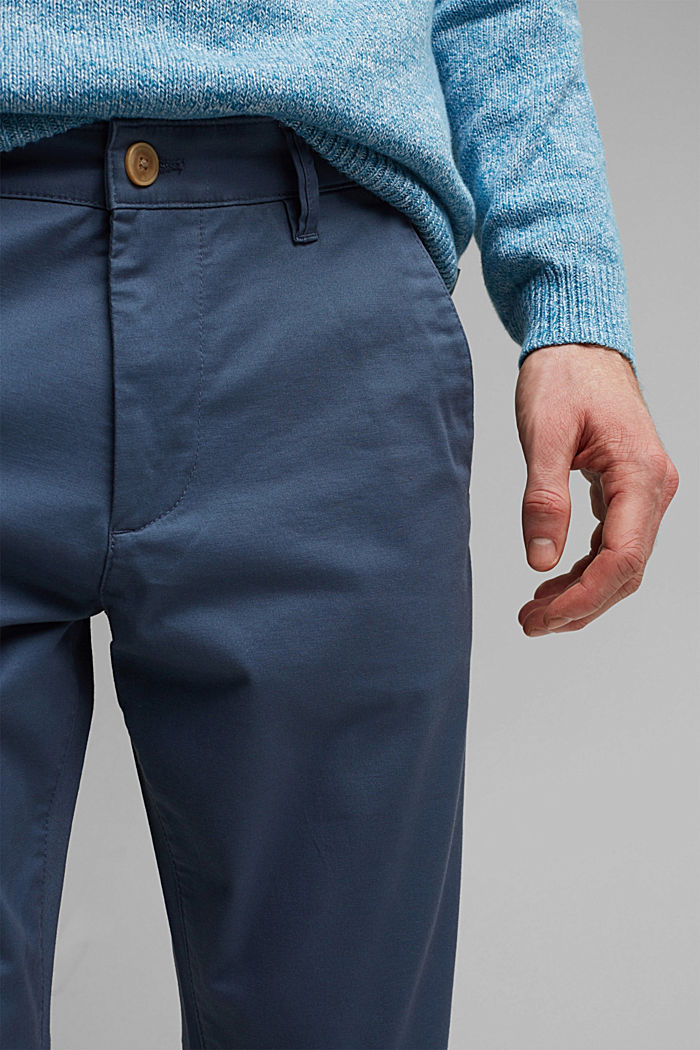 Stretch chinos in organic cotton, GREY BLUE, detail image number 2
