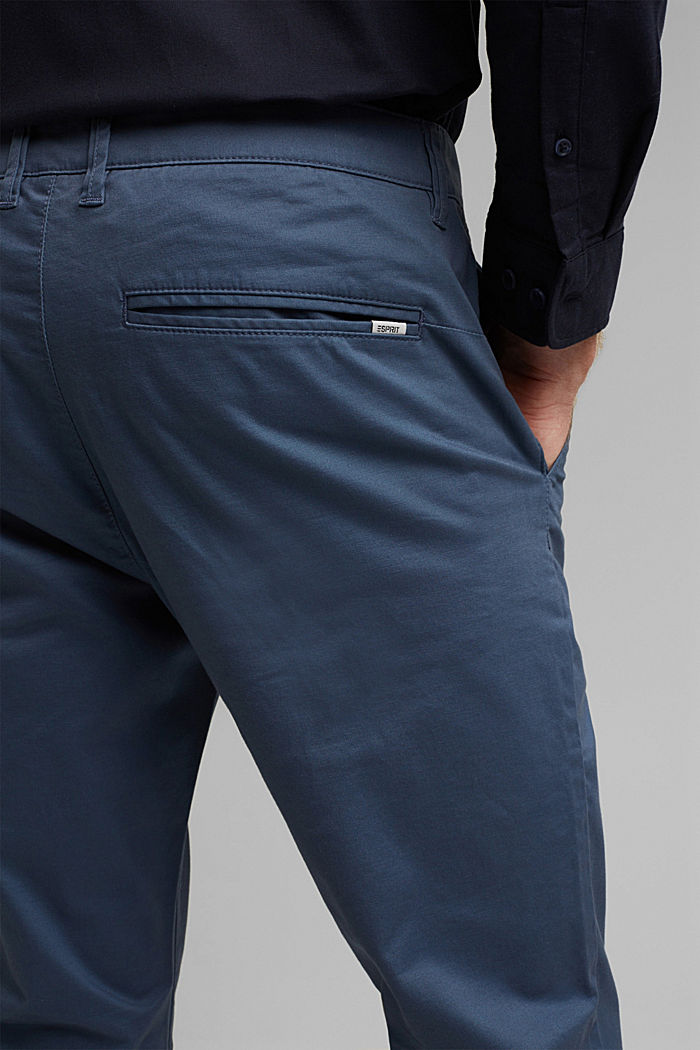 Stretch chinos in organic cotton, GREY BLUE, detail image number 5