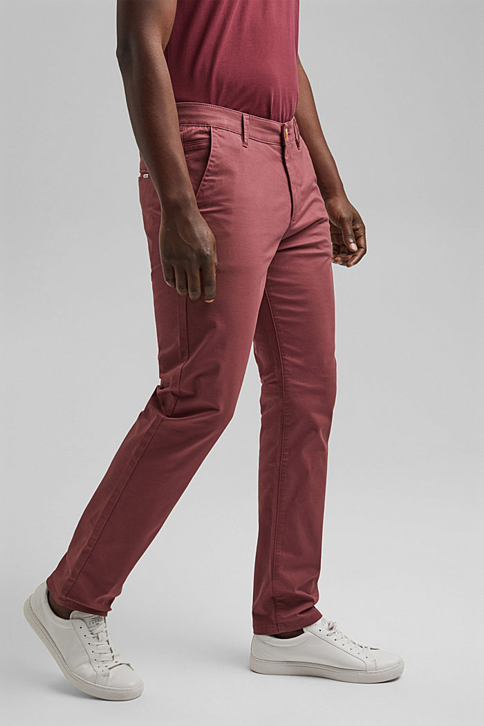 Stretch chinos in organic cotton, BLUSH, detail image number 0