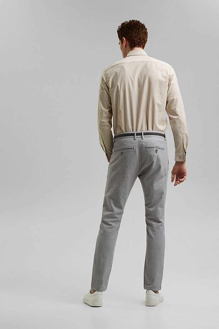Stretchy, textured trousers, organic cotton, DARK GREY, detail image number 3