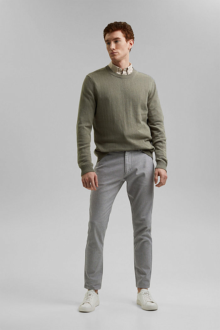 Stretchy, textured trousers, organic cotton, DARK GREY, detail image number 1