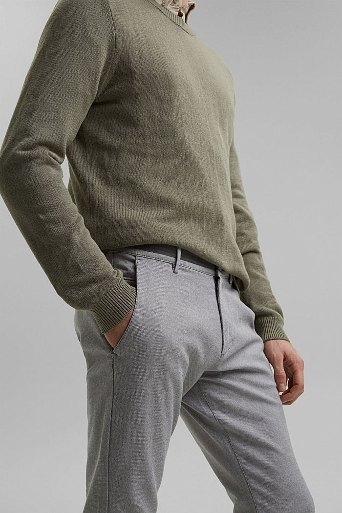 Stretchy, textured trousers, organic cotton, DARK GREY, detail image number 2
