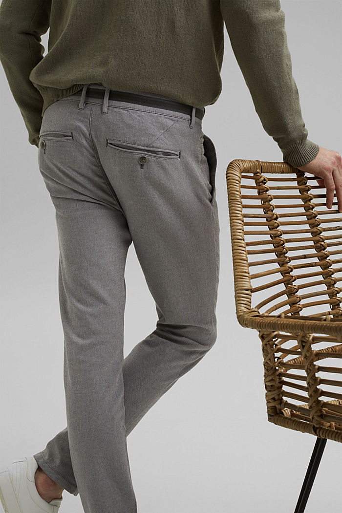 Stretchy, textured trousers, organic cotton, DARK GREY, detail image number 5