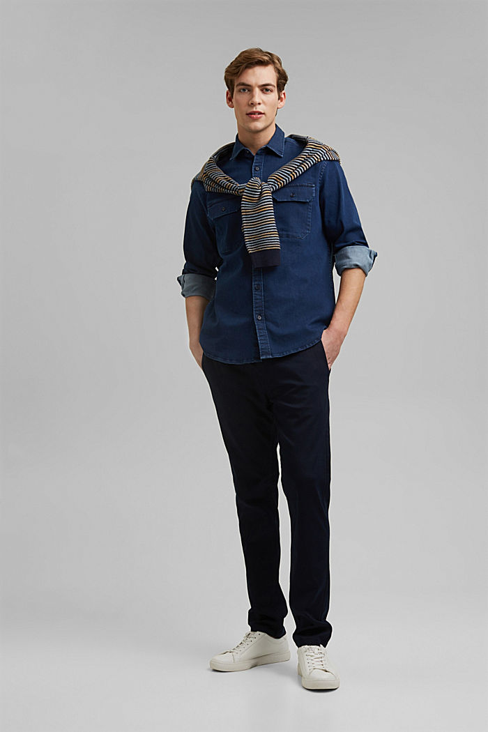 Recycled: overshirt with organic cotton, BLUE RINSE, detail image number 1