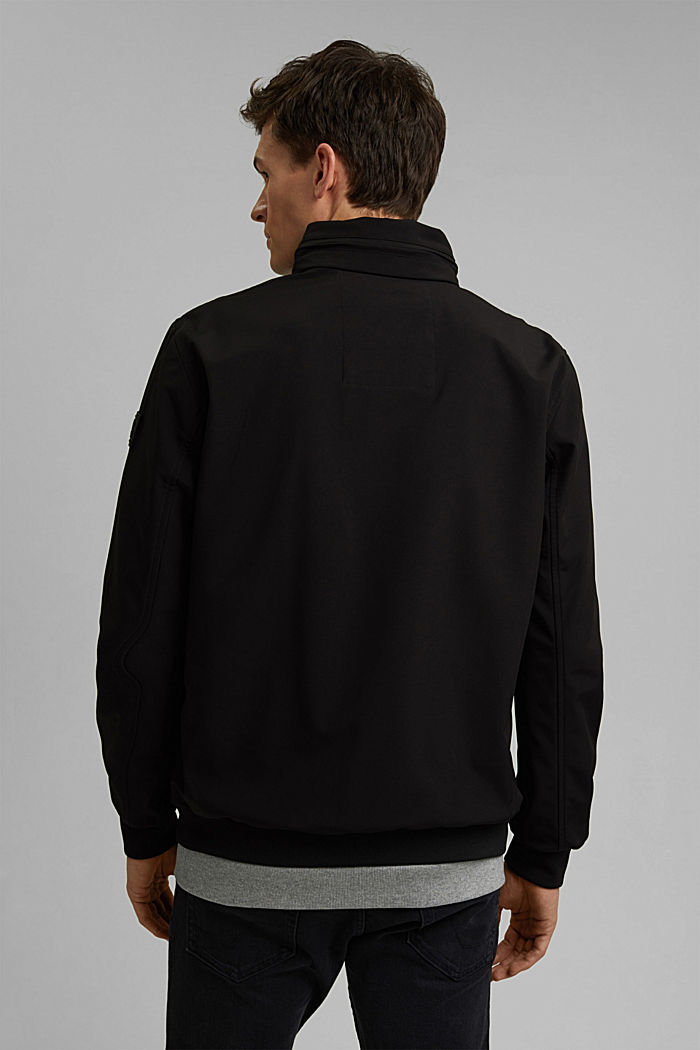 Recycled: softshell jacket with hood, BLACK, detail image number 3