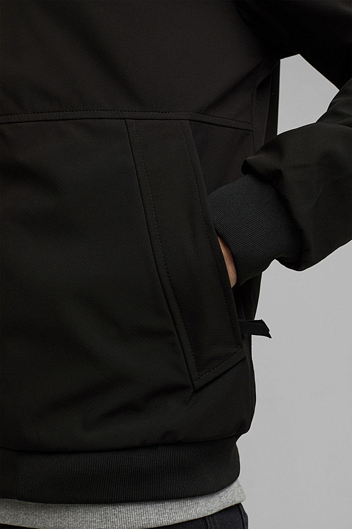 Recycled: softshell jacket with hood, BLACK, detail image number 5