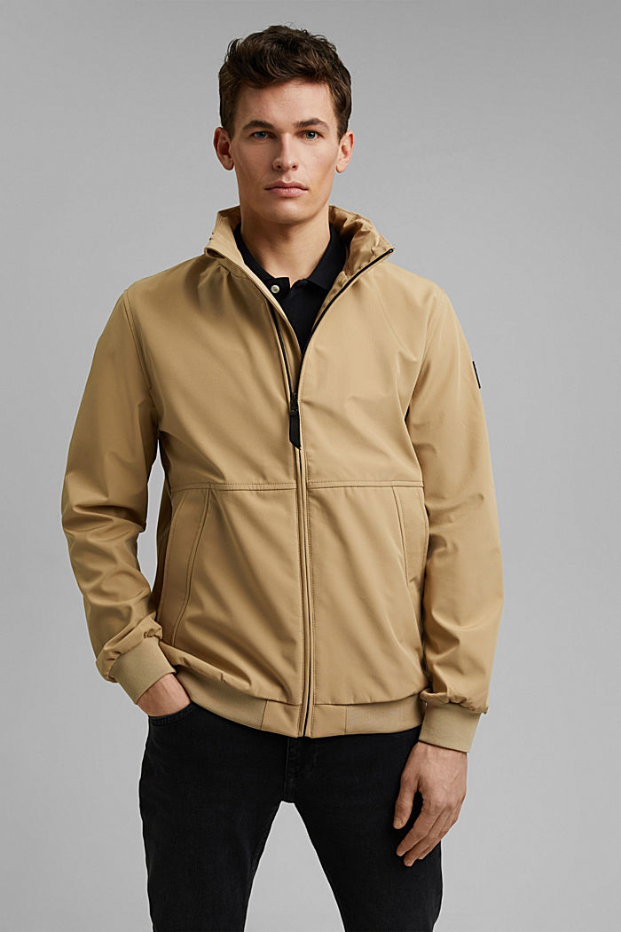 Recycled: softshell jacket with hood, BEIGE, detail image number 0