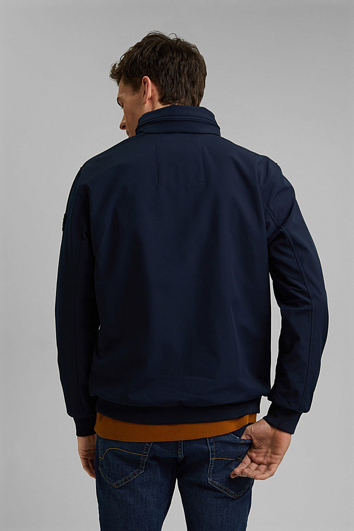 Recycled: softshell jacket with hood, DARK BLUE, detail image number 3