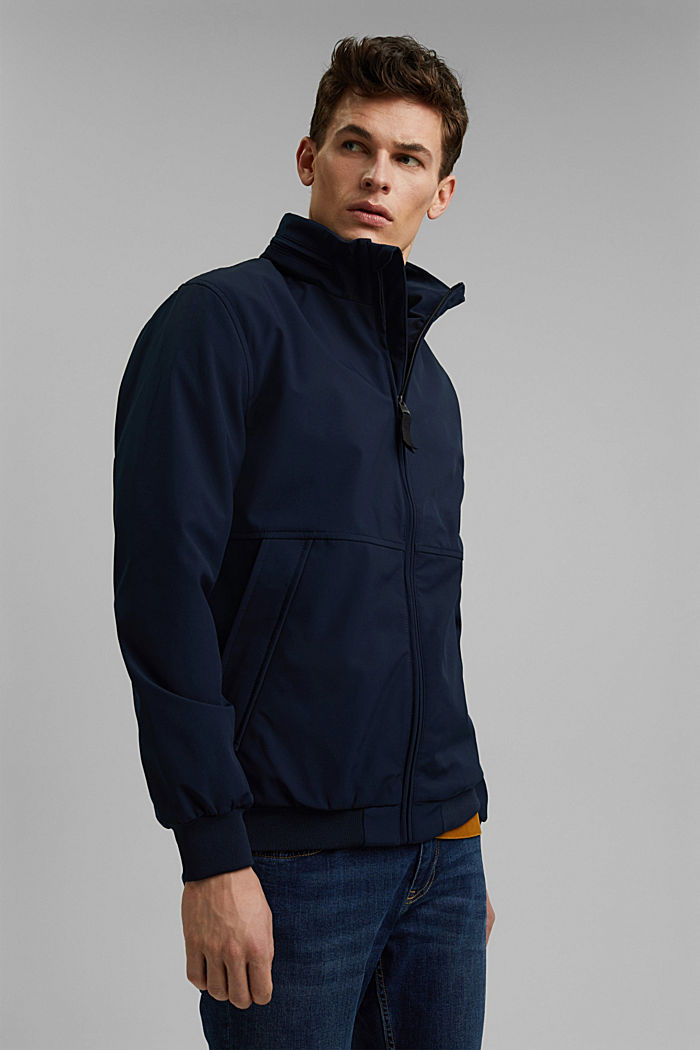Recycled: softshell jacket with hood, DARK BLUE, detail image number 4