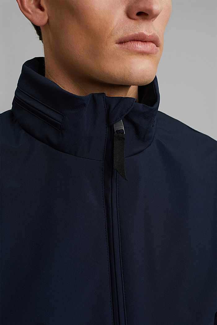 Recycled: softshell jacket with hood, DARK BLUE, detail image number 2
