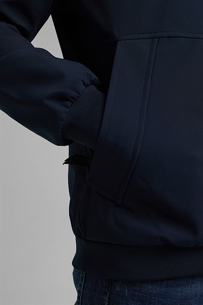 Recycled: softshell jacket with hood, DARK BLUE, detail image number 6